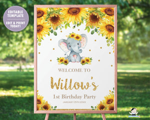 Sunflower Elephant Baby Shower / Birthday / Christening Welcome Sign - EDITABLE TEMPLATE Digital Printable File - INSTANT DOWNLOAD - EP8