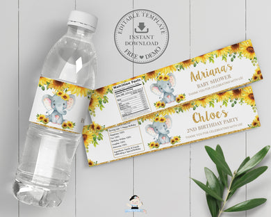 Chic Sunflower Elephant Water Bottle Labels Editable Template Baby Shower Birthday - Instant Download - Digital Printable File - EP8