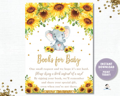 Sunflower Elephant Bring a Book Instead of a Card - Books for Baby - Instant Download - Digital Printable File - EP8
