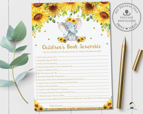 Sunflower Elephant Children's Book Scramble Baby Shower Game Quiz Activity - Instant Download - Digital Printable File - EP8