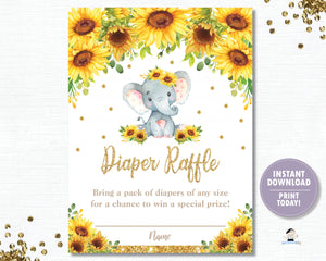 Sunflower Elephant Diaper Raffle Tickets Inserts - Instant Download - Digital Printable File - EP8