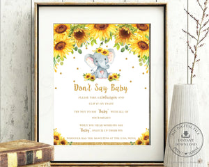 Sunflower Elephant Don't Say Baby Game Baby Shower Activity - Instant Download - Digital Printable File - EP8