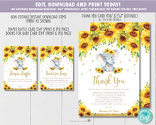 Load image into Gallery viewer, Sunflower Elephant Baby Shower Invitation Bundle Set - Thank You, Diaper Raffle, Bring a Book Insert - EDITABLE TEMPLATE Digital Printable File - INSTANT DOWNLOAD - EP8