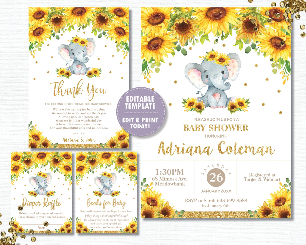 Sunflower Elephant Baby Shower Invitation Bundle Set - Thank You, Diaper Raffle, Bring a Book Insert - EDITABLE TEMPLATE Digital Printable File - INSTANT DOWNLOAD - EP8