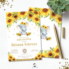 Load image into Gallery viewer, Sunflower Elephant Baby Shower Invitation - EDITABLE TEMPLATE Digital Printable File - INSTANT DOWNLOAD - EP8