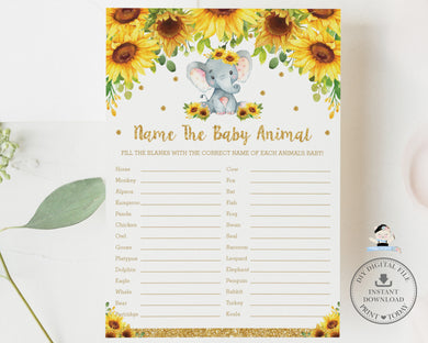 Sunflower Elephant Name The Baby Animal Baby Shower Quiz Game - Digital Printable File - Instant Download - EP8