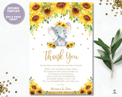 Sunflower Elephant Baby Shower Thank You Card - EDITABLE TEMPLATE Digital Printable File - INSTANT DOWNLOAD - EP8