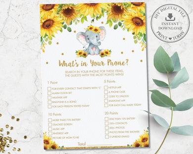 Sunflower Elephant What's In Your Phone Game Baby Shower Activity - Instant Download - Digital Printable File - EP8
