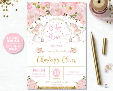 pink-blush-floral-flower-elephants-twin-girls-baby-shower-personalised-invitation-editable-template-digital-file-pdf-instant-download