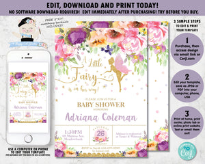 Summer Floral Fairy Baby Shower Invitation - Instant EDITABLE TEMPLATE - FF2