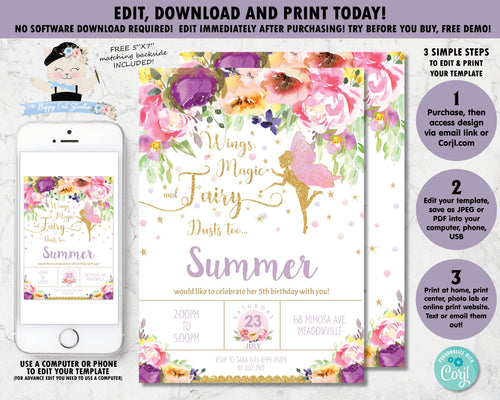 Pretty purple watercolor floral glitter gold fairy with pink wings birthday party invitation editable template