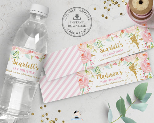 Chic Fairy Blush Pink Floral Water Bottle Wrapper Label Editable Template - Digital Printable File - Instant Download - FF1