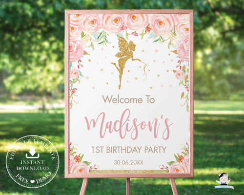 Blush Pink Floral Fairy Baby Shower Birthday Welcome Sign - Editable Template - Digital Printable File - Instant Download - FF1