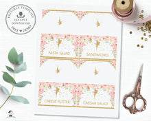 Load image into Gallery viewer, Chic Pink Floral Gold Glitter Fairy Food Tent Editable Template - Digital Printable File - Insant Download - FF1