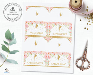 Chic Pink Floral Gold Glitter Fairy Food Tent Editable Template - Digital Printable File - Insant Download - FF1