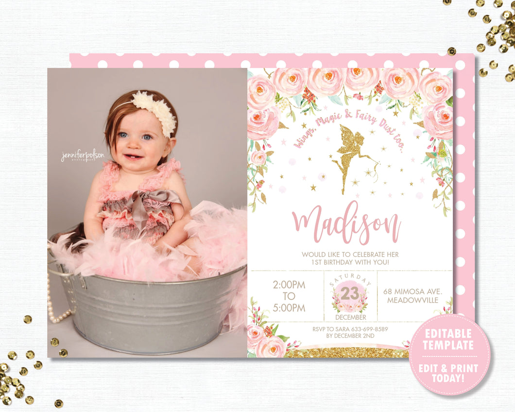 Chic Gold Glitter Fairy Pink Floral Birthday Photo Invitation Editable Template - Digital Printable File - Instant Download - FF1