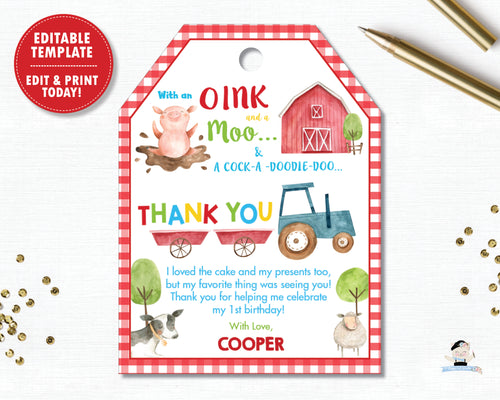 Farm Barnyard Animals Birthday Party Baby Shower Thank You Favor Tags - Editable Template - Digital Printable File - Instant Download -  BY1