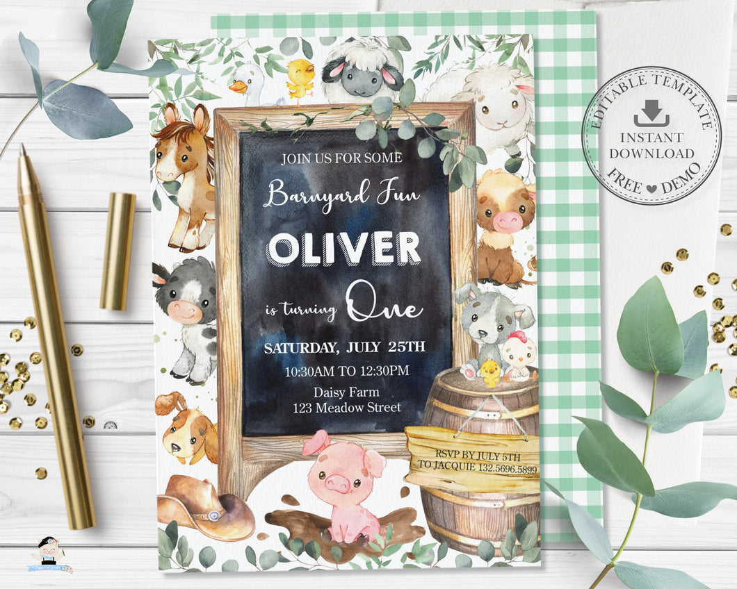 Cute Farm Animals Barnyard Birthday Party Invitation Editable Template - Digital Printable File - Instant Download - BY3
