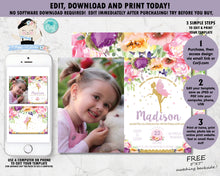 Load image into Gallery viewer, Summer Purple Floral Fairy Birthday Party Invitation with Photo - EDITABLE TEMPLATE Instant Download Digital Printable File- FF2