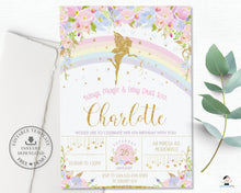 Load image into Gallery viewer, Pink Floral Rainbow Fairy Birthday Invitation Editable Template - Instant Download - Digital Printable File - FF2