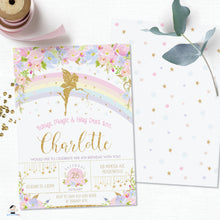 Load image into Gallery viewer, Pink Floral Rainbow Fairy Birthday Invitation Editable Template - Instant Download - Digital Printable File - FF5