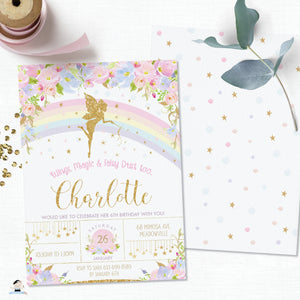 Pink Floral Rainbow Fairy Birthday Invitation Editable Template - Instant Download - Digital Printable File - FF2