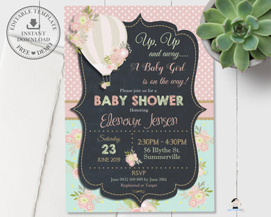 Chic Floral Hot Air Balloon Baby Shower Invitation Editable Template - Digital Printable File - HA1