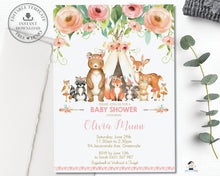 Load image into Gallery viewer, Floral Tribal Woodland Animals Baby Shower Invitation Editable Template - Instant Download - WG5