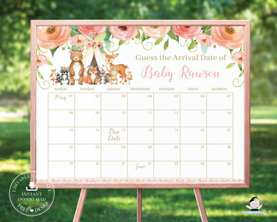Tribal Floral Woodland Animals Guess Baby's Arrival Date Prediction Game Calendar - Editable Template - Digital Printable File - Instant Download - WG5