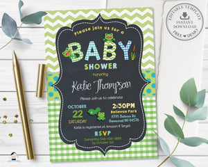 Cute Frogs Baby Shower Boy Gender Neutral Green Invitation - Editable Template - Digital Printable File Instant Download - FR2