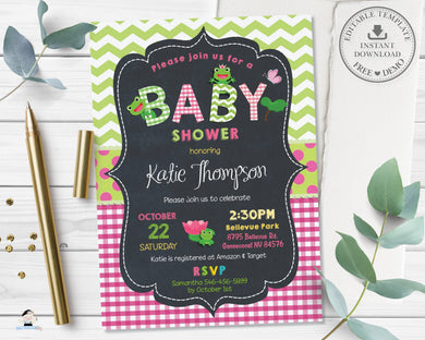 Cute Frogs Baby Shower Girl Pink Invitation - Editable Template - Digital Printable File Instant Download - FR2