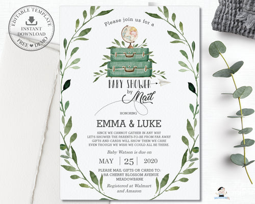 Rustic Greenery Adventure Begins Baby Shower by Mail Long Distance Invitation Editable Template - Instant Download - BM1
