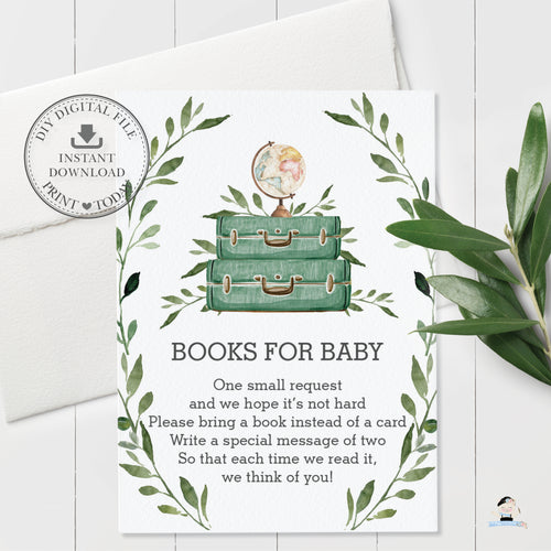 Greenery Adventure Begins Baby Shower Bring a Book Instead of a Card - Instant Download - BM1