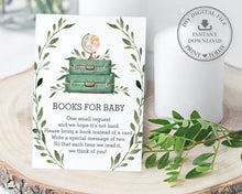 Load image into Gallery viewer, Greenery Adventure Begins Baby Shower Bring a Book Instead of a Card - Instant Download - BM1
