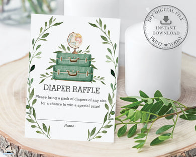 Greenery Adventure Begins Baby Shower Diaper Raffle Ticket Card - Instant Download - BM1