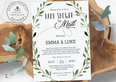 Rustic Greenery Baby Shower by Mail Long Distance Invitation Editable Template - Instant Download - BM1