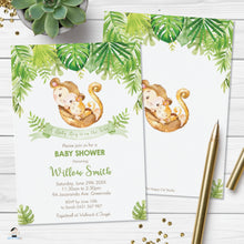 Load image into Gallery viewer, Cute Mommy and Baby Monkeys Greenery Baby Shower Invitation Editable Template - Digital Printable File - Instant Download - MK3