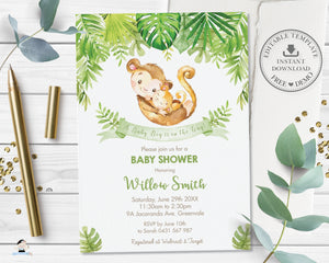 Cute Mommy and Baby Monkeys Greenery Baby Shower Invitation Editable Template - Digital Printable File - Instant Download - MK3