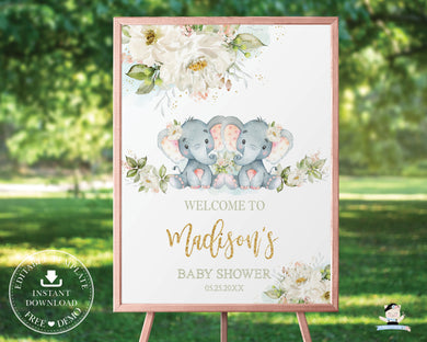 Chic Greenery Ivory Floral Elephant Twin Baby Girls Welcome Sign - Editable Template - Digital Printable File - Instant Download - EP2