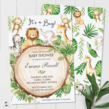 Load image into Gallery viewer, Greenery Cute Jungle Animals Baby Shower Invitation - Editable Template - Digital Printable File - Instant Download - JA1