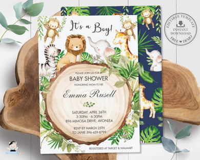 Greenery Cute Jungle Animals Baby Shower Invitation - Editable Template - Digital Printable File - Instant Download - JA1