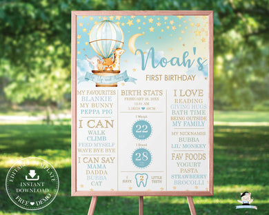 Whimsical Hot Air Balloon Cute Animals 1st Birthday Milestone Sign Birth Stats - Editable Template - Digital Printable Instant Download - HB5