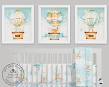 "Load image into Gallery viewer, Set of 3 Whimsical Hot Air Balloon Baby Animals Nursery Wall Art - 16""x20"" - INSTANT DOWNLOAD - HB5"