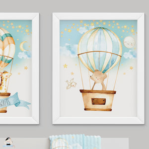 "Set of 3 Whimsical Hot Air Balloon Baby Animals Nursery Wall Art - 16""x20"" - INSTANT DOWNLOAD - HB5"