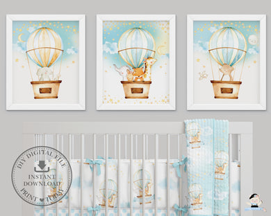 Set of 3 Whimsical Hot Air Balloon Cute Baby Animals Nursery Wall Art - 16