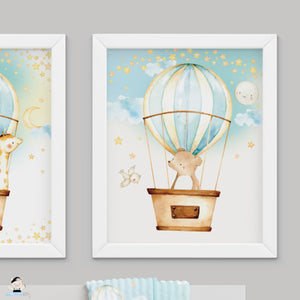 "Set of 3 Whimsical Hot Air Balloon Cute Baby Animals Nursery Wall Art - 16""x20"" - INSTANT DOWNLOAD - HB5"