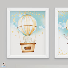"Load image into Gallery viewer, Set of 3 Whimsical Hot Air Balloon Cute Baby Animals Nursery Wall Art - 16""x20"" - INSTANT DOWNLOAD - HB5"