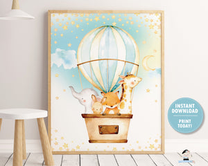 "Hot Air Balloon Cute Baby Animals Wall Art 16""x20"" Instant Download Digital Printable File HB5"