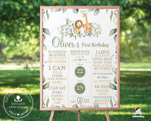 Rustic Greenery Jungle Animals 1st Birthday Milestone Sign Birth Stats Editable Template - Digital Printable File - Instant Download - JA5