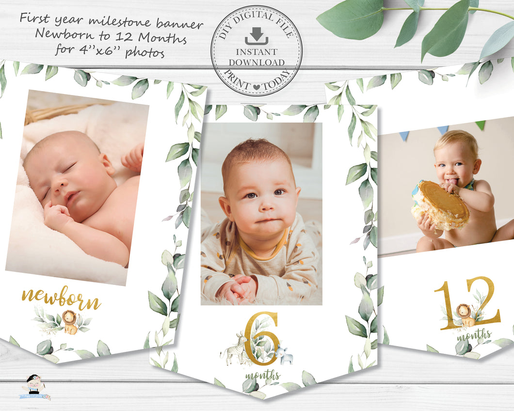 Jungle Animals Greenery 1st Birthday Photo Milestone First Year Flag Banner - Instant Download - Digital Printable File